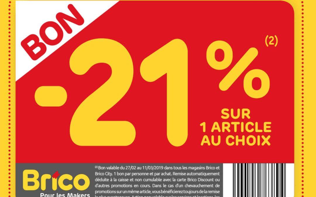 Bon -21% sur un article au choix*