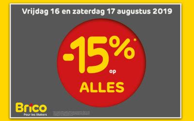 Brico is open op donderdag 15 augustus van 9u tot 13u