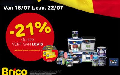"""-21%* op alle verf van Levis dankzij je """"MonBrico"""" Kaart"""