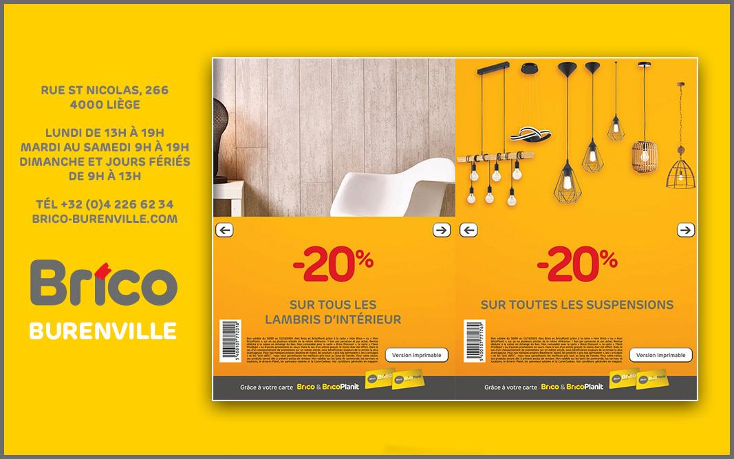 Profitez des bons de -20%* sur tous les lambris d'intérieur et toutes les suspensions. Grâce à votre carte 'Mon Brico', profitez des bons de réductions :