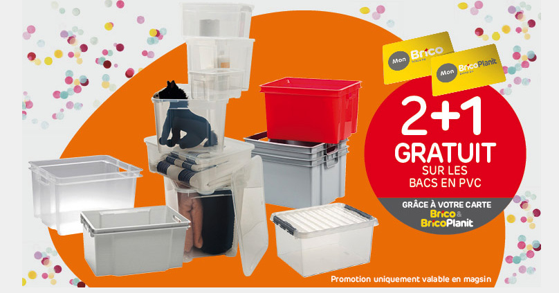 Grâce à votre carte 'Mon Brico', profitez de notre offre 2+1 gratuit* sur les bacs en PVC. De nombreux articles de rangements très pratiques