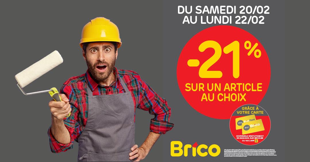 Du samedi 20 au lundi 22 février, grâce à votre carte 'Mon Brico', profitez d'une réduction de -21%* sur un article au choix !