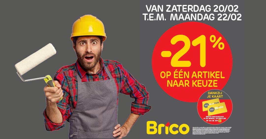 """Geniet van zaterdag 20/02 tot maandag 22/02 van -21%* korting op een artikel naar keuze met de kaart """"Mon Brico""""."""