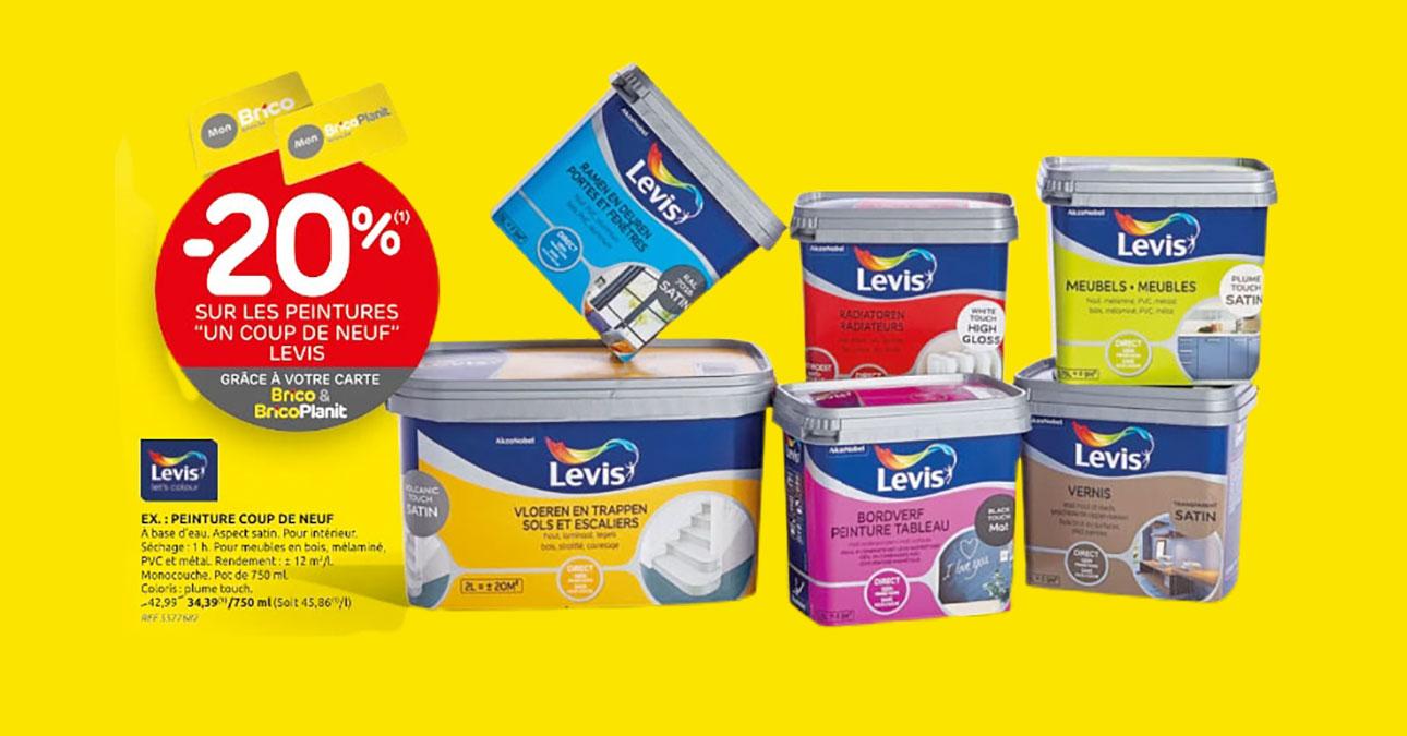 Grâce à votre carte 'Mon Brico, profitez d'une réduction de -20%* sur les peintures 'un coup de neuf' de Levis.