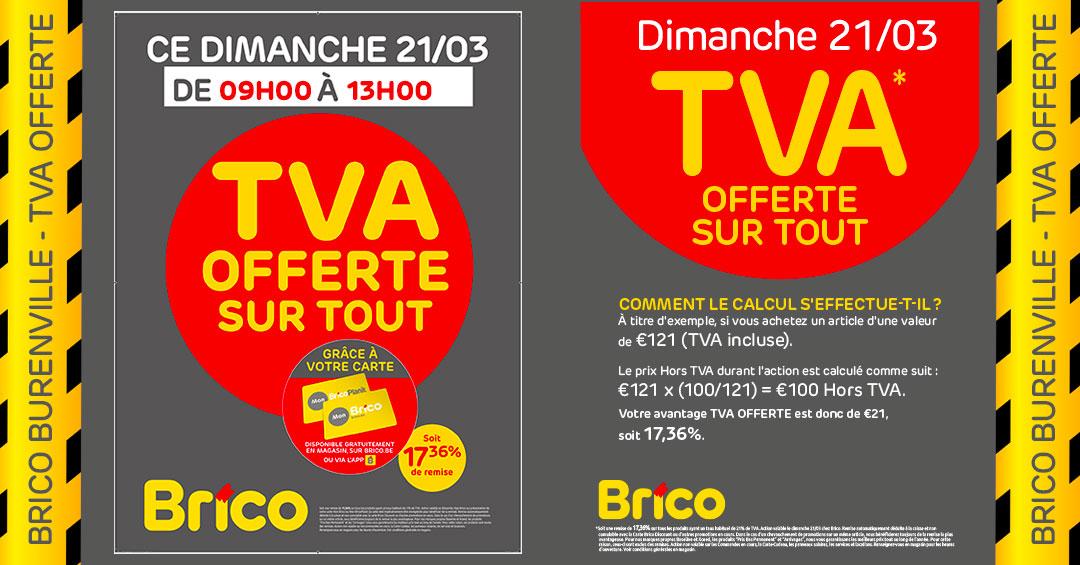 Profitez de l'action TVA offerte sur tout* le dimanche 21/03/2021 grâce à votre carte MonBrico.