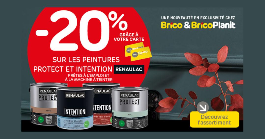 Profitez d'une réduction de -20%* sur les peintures Protect et Intention Renaulac grâce à votre carte 'Mon Brico'.