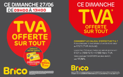 Action TVA offerte sur tout le dimanche 27/06/21