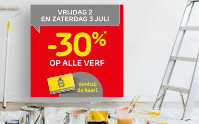Vrijdag 2 en zaterdag 3 juli is het -30%* op alle verf dankzij je Mijn Brico